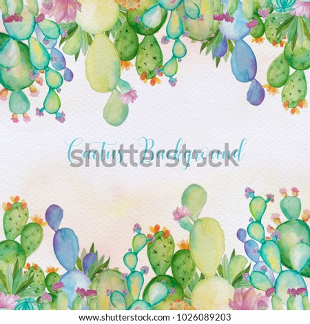 Royalty Free Stock Illustration Of Watercolor Cactus Background