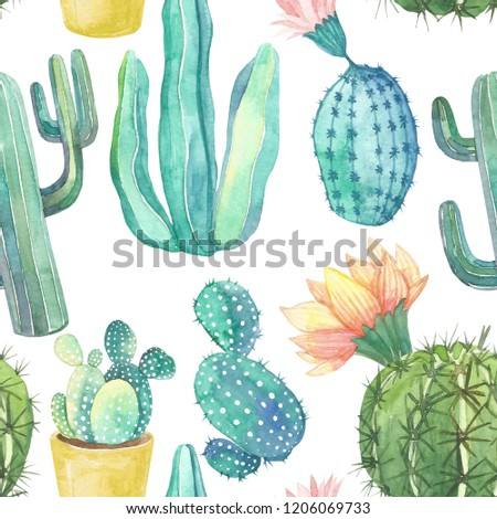 Watercolor Cactus Pattern Watercolor Hand Draw Stock Illustration