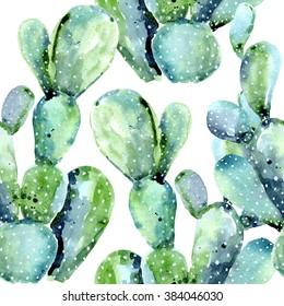 Watercolor cactus seamless floral pattern background, wallpaper