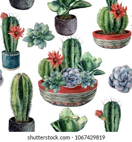 Watercolor cactus seamless pattern. Hand painted cereus, echeveria, echinocactus grusonii with green and blue succulent isolated on white background. Illustration for design, fabric or background