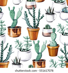 Watercolor cactus tropical garden seamless pattern. Watercolour cactus pattern on white background.