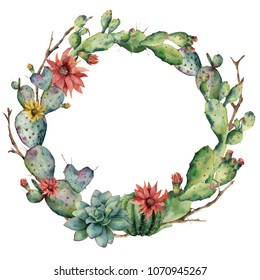 Watercolor cactuses wreath with flowers and succulent. Hand painted flowering opuntia, tree branch, echinocactus grusonii isolated on white background. Illustration for design, fabric or background