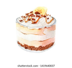 Watercolor cake, eclair isolated on a white background illustration.