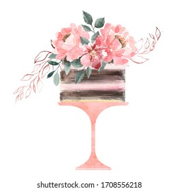 Watercolor cake logo decorated with flowers and leaves. High resolution isolated on a white background. Home bakery logo. Provence style.