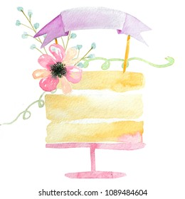 watercolor cake with pink baner on white background,watercolor birthday card