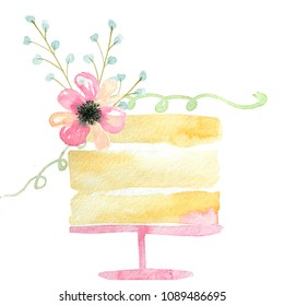 watercolor cake with pink flowers and green leaves on white background