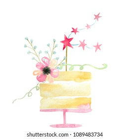 watercolor cake with pink stars and flower on white background