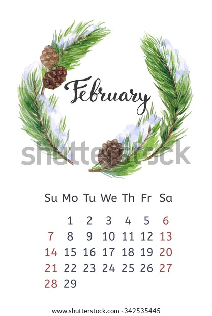 Watercolor calendar with floral wreath and hand lettering. February 2016