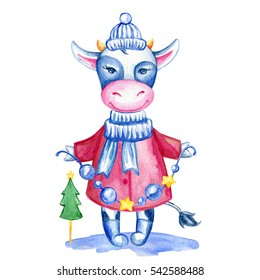 Watercolor calf hand drawn kid cartoon animal, domestic cute cow in winter cloth with Christmas garland isolated on white background, Character design for greeting card, children invite, holiday print