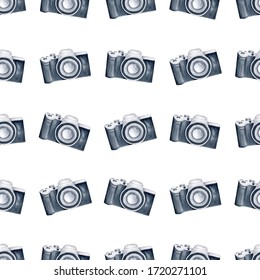 Watercolor cameras clipart digital paper seamless pattern. Illustration for fabric textile and scrapbooking.