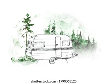 Watercolor camping van in the forest illustration isolated on a white background. Travel c concept design. Adventure themed clipart.