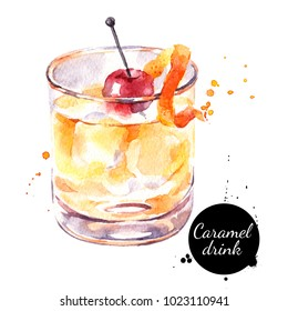 Watercolor caramel cocktail illustration. Painted isolated fresh delicious food white background