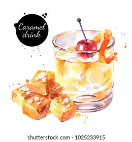 Watercolor caramel salted cocktail illustration. Painted isolated fresh delicious food white background