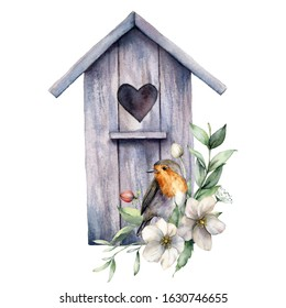 Watercolor card with bird house, robin and anemones. Spring illustration with a flowers and a bird isolated on a white background. Scene of wild nature for design, print, fabric. Easter template.