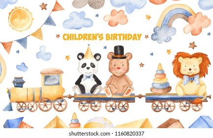 Watercolor card for children's birthday. Illustration with cartoon animals, train, toys, flags, clouds. Perfect for children's birthday, children's show, invitations, postcards, logos.