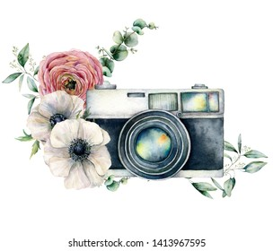 Watercolor card composition with camera and anemone, ranunculus bouquet. Hand painted photographer logo with flower illustration isolated on white background. For design, prints or background