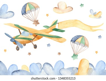 Watercolor card with cute airplane and clouds. Child illustration for baby shower, kindergarten, cards, invitations.