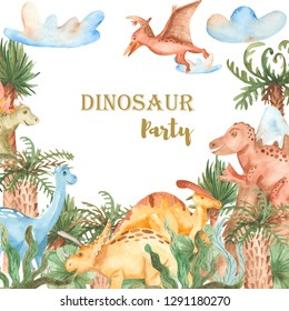 Watercolor card with cute cartoon dinosaurs. Illustration with prehistoric characters, plants, palm trees for baby design, cards, invitations, baby shower.