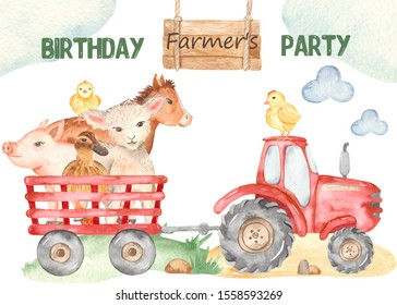 Watercolor card cute farm with lamb, chickens, tractor, pig, horse