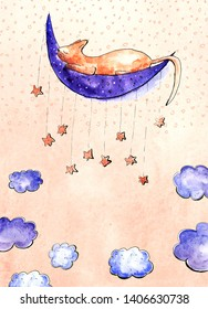 Watercolor card with dreaming cat on the Moon. Blue clouds, orange stars. Light orange background. Place for your text.