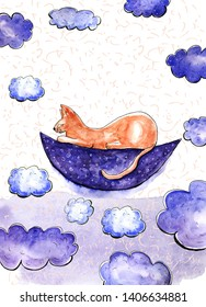Watercolor card with dreaming cat on the Moon. Place for your text. Big cloud elements