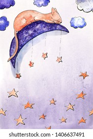 Watercolor card with dreaming cat on the Moon. Place for your text. Light blue background