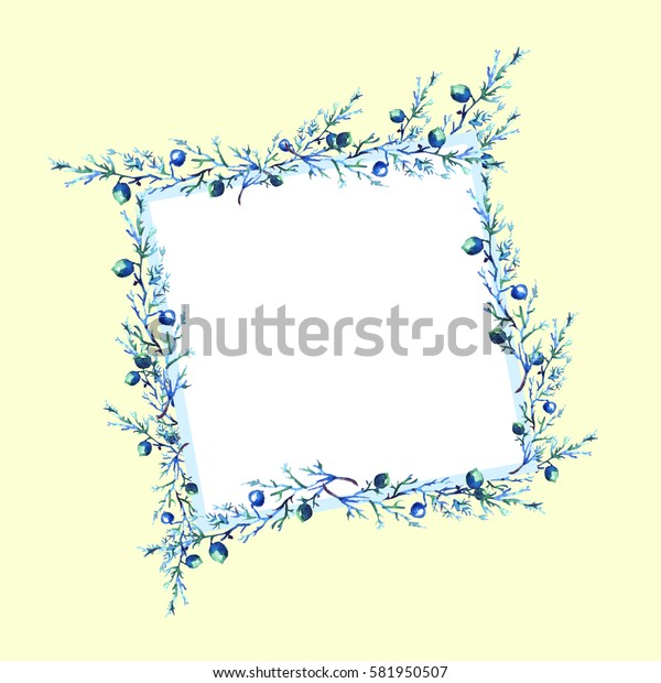 Watercolor card, frame with a pattern of wild trasteny, herbs. Juniper, branches with berries, blue.