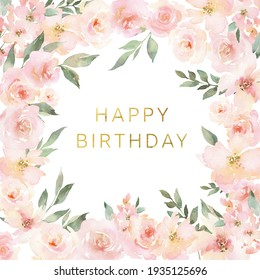 Watercolor card Happy birthday. Greeting card with delicate pink flowers. Invitation with spring flowers.