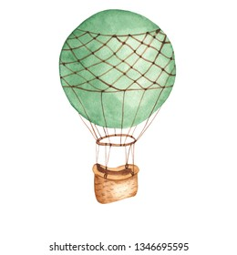 Watercolor card with hot air balloon. Illustration on white background. Great for cards, invitations, baby shower, baby design, clothes for children.
