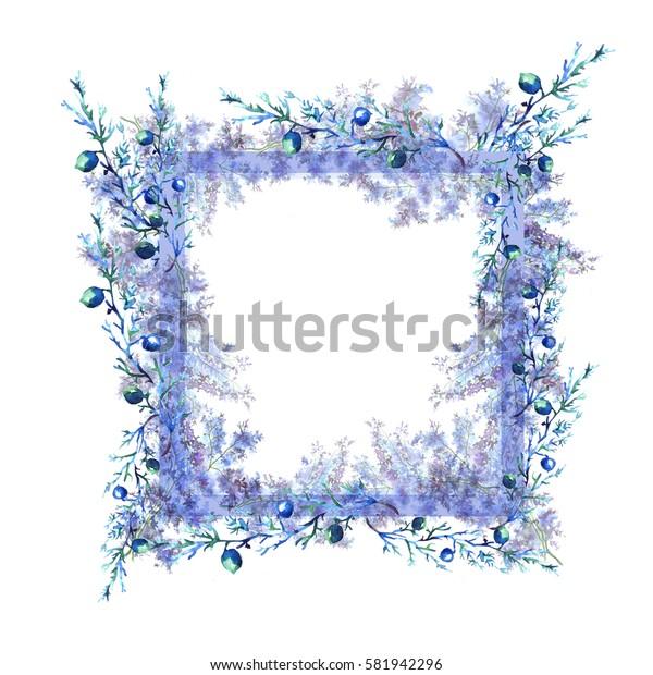Watercolor card, logo, tag and pattern vintage wild wildflowers, lavender, plants, berries, juniper