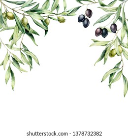Watercolor card with olive branch and berries. Hand painted border with green and black olives isolated on white background. Floral botanical illustration for design, print