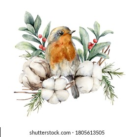 Watercolor card with robin redbreast, cotton, berries and leaves. Hand painted bird and flowers isolated on white background. Floral illustration for design, print, fabric or background.