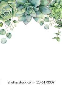 Watercolor card with succulents and eucalyptus leaves. Hand painted eucalyptus branch, green succulents isolated on white background. Floral botanical illustration for design, print or background