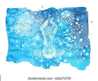 Watercolor card template with yoga symbols. Hand drawn illustration.  Spiritual background.