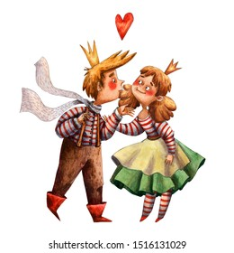 Watercolor card with two characters. Prince and princess love. Cute fairy tale card. Medieval fairy tale. Valentines postcard. Golden crown and red heart. Hand drawn cartoon style of illustration.