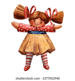 Watercolor card. Waldorf doll. Hand drawn character. For baby girl. Happy childhood. Design for girls. Cute toys. Beautiful fabric design. Funny cartoon style.