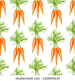 Watercolor carrot seamless pattern. Hand-drawn background.