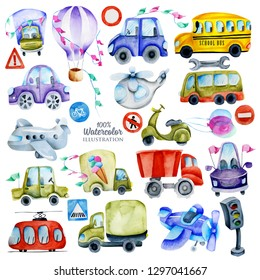 Watercolor cars, road signs and elements collection, illustration for kids, hand painted isolated on a white background