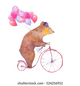 Watercolor cartoon bear on retro bicycle with air balloons. Hand drawn fairytale animal with hat and vintage transport isolated on white background. Circus magic collection