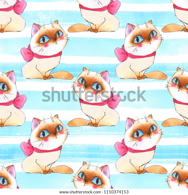 Watercolor cartoon cats, seamless pattern 1