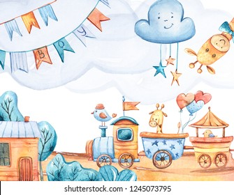 Watercolor cartoon composition for birthday card. Cute illustration on white background. Giraffes, bird, cartoon locomotive, balloons, clouds.