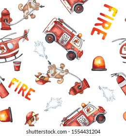 Watercolor cartoon cute seamless pattern Firefighting and fire safety equipment illustration. Fire truck, helicopter, dog, helmet, hose, column, fire extinguisher. Baby shower red colorful clip art