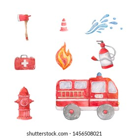 Watercolor cartoon cute set Firefighting and fire safety equipment illustration. Light buzzer and fire detector, fire station and hydrant. Baby shower red colorful clip art. Card, poster