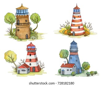 Watercolor cartoon lighthouses set with trees and plants. Fairytale landscape. Vintage design concept for print or poster. Hand drawn illustration