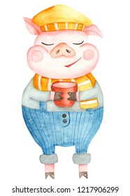 Watercolor cartoon pig. The symbol of the new 2019. Isolated illustration on white background. Poster pig with a mug for the Chinese New Year.