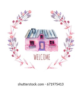 Watercolor cartoon private house inside the floral wreath in purple and pink shades, hand painted isolated on a white background