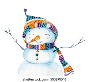 Watercolor cartoon snowman in childish style isolated on white background. Snowman with cheerful smile. Hand painted illustration can be used for christmas, new year, winter design