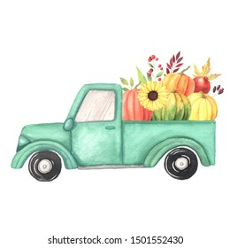 Watercolor cartoon turquoise truck with harvest - pumpkin vegetables. Hand painted vintage retro car illustration perfect for thanksgiving card making, wedding invitation and fall autumn postcards