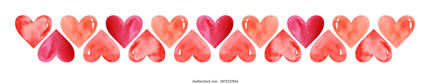 Watercolor central border template of colorful hearts of red shades on white background. Beautiful decorative elements in shape of hearts positioned in two rows with mirror arrangement to each other