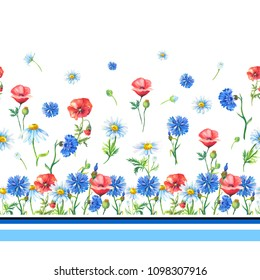 Watercolor chamomiles(daisies),red poppies,blue cornflowers on a white background.Abstract seamless pattern of flowers,stripes.Summer floral  illustration.Print for textile,fabric,wrapping gift paper.